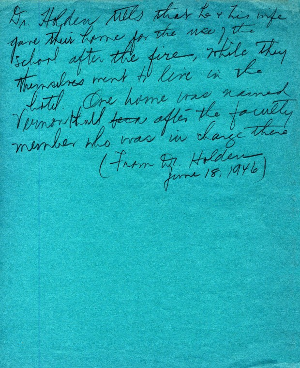 One of many pages of Custard's notes. This note was written using the back of a student's examination booklet cover.